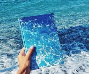 blue, sea, and book image