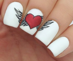 girl, nail art, and heart image