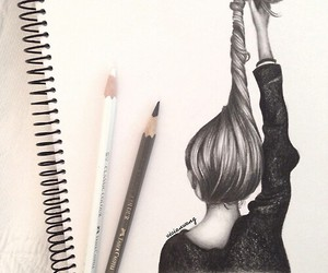 drawing, hair, and art image