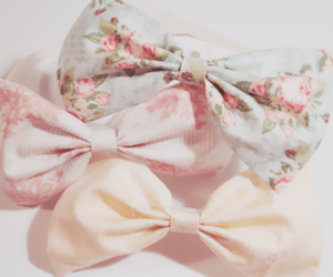 bow, pink, and floral image