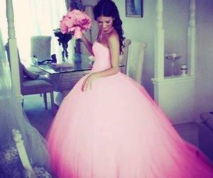 dress, wedding, and pink image