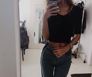 jeans, shirt, and selfie image