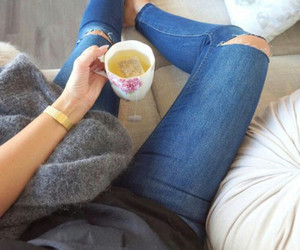 drink, tea, and jeans image