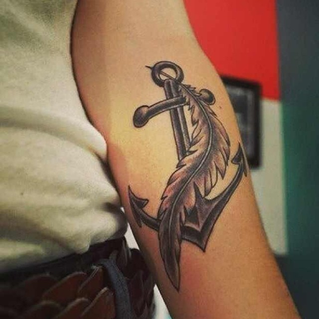 tattoo, anchor, and feather image