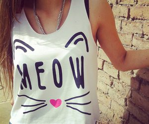 cat, girl, and meow image