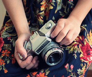 camera, dress, and floral image