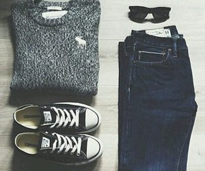 converse, jeans, and sweater image