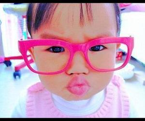 baby, pink, and glasses image