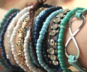 bracelet, blue, and infinity image