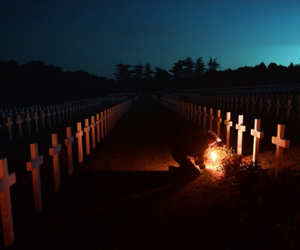 army, candle, and cemetery image