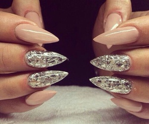 nails, nail art, and silver image