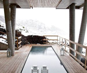 pool, snow, and house image
