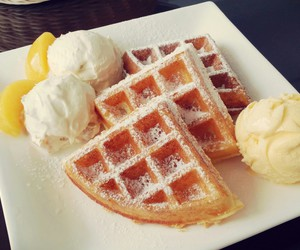 food, waffles, and icecream image