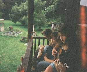 girl, friends, and guitar image