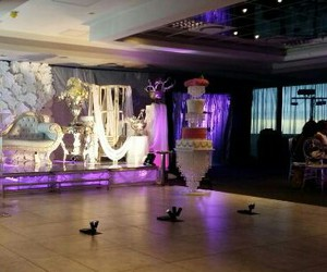 birthday party, stage, and decor image