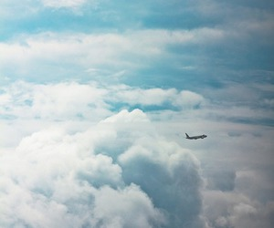 sky, clouds, and plane image
