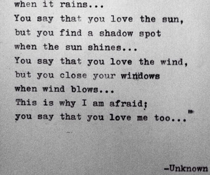 afraid, quote, and rain image