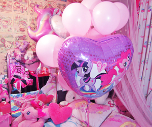 balloons, pink, and pony image