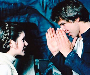 carrie fisher, han solo, and harrison ford image