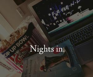 night, book, and popcorn image
