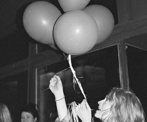 girl, balloons, and hipster image