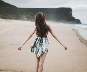 beach, girl, and sea image