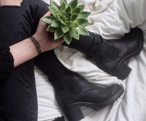 black, grunge, and plants image
