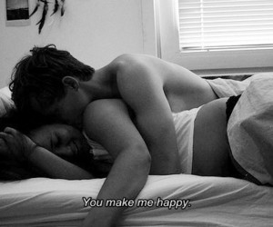black and white, happy, and couple image