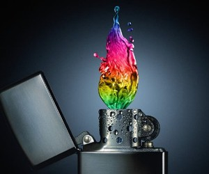 water, fire, and lighter image
