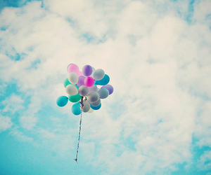 balloons, blue, and heaven image
