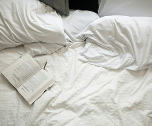 book, bed, and white image