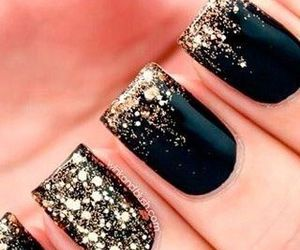black and gold, nail, and glitter image