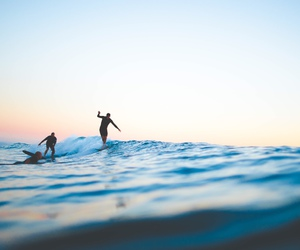 ocean, sunset, and surf image