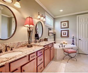 bathroom, pink, and luxury image