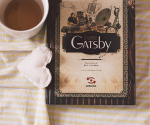 book, tea, and gatsby image