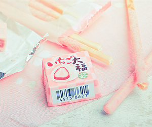 food, pink, and pocky image