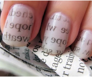 nails, newspaper, and nail art image