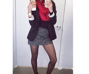 blazer, red scarf, and office outfit image
