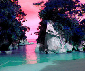 ocean, paradise, and pink image