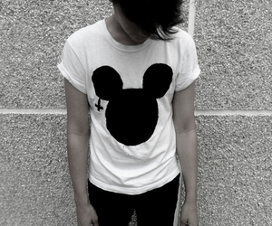 black and white, boy, and mickey image