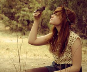 girl, bird, and nature image