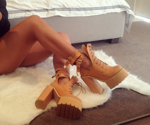 chic, high heels, and timberlands image