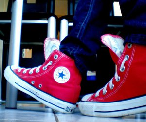 all-star, red, and chucks image