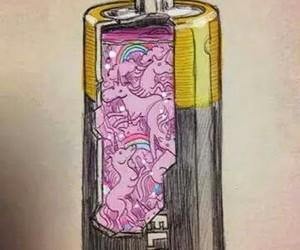 unicorn, pink, and battery image