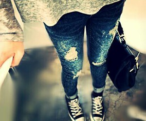 girl, jeans, and cute image