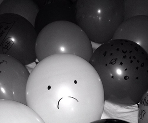 balloons, black and white, and teenager image