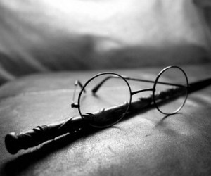 glasses, wand, and harry potter image