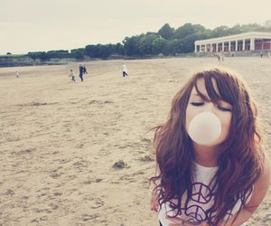 girl, beach, and bubbles image