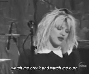 Courtney Love, black and white, and text image