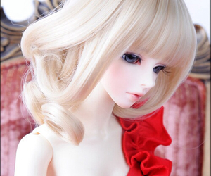 ball jointed doll, red, and bjd image